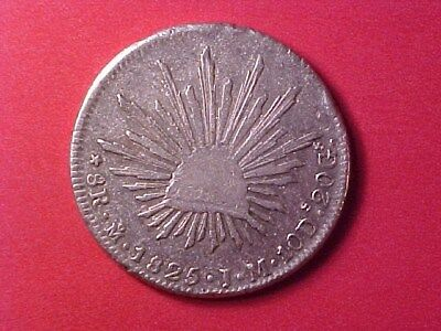 MEXICO 8 REALES SILVER CROWN 1825-Mo J.M. CAP & RAYS TYPE (OLD CLEANING) 26.6g