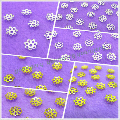 Wholesale 500x Gold Silver Plated Flower Bead Caps Jewelry Findings 5mm 7mm 8mm