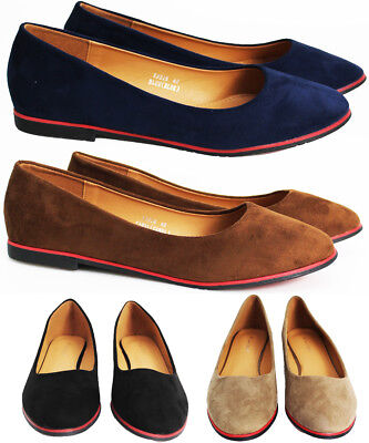 39e4200993f8 New Womens Flat Pumps Ladies Faux Suede Ballet Ballerina Dolly Bridal Shoes  Size