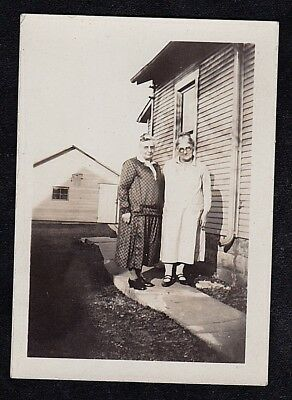 Vintage Antique Photograph Two Older Women Standing in the Yard by House