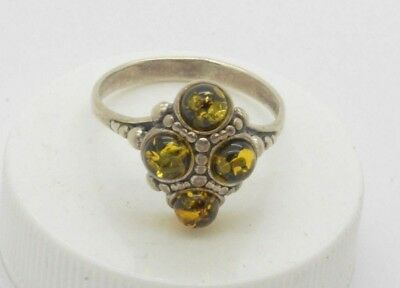 Post medieval Silver ring with Amber gemstones. 18 Century