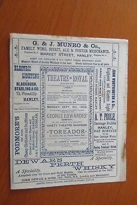 1902 Theatre Royal Hanley The Toreador Programme  Stoke On Trent