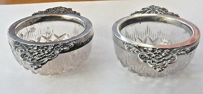 Pair of Cut Glass Salts with Decorative silver Collars/handles Birmingham 1900