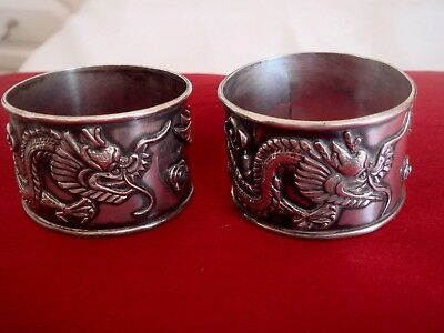 Fine Solid Silver Hallmarked Chinese Export Pair Of  Servet Napkin Rings