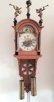 Warmink Wall Clock Dutch Vintage Schipertje Ship Clock Oak Bell Strike Moon Dial