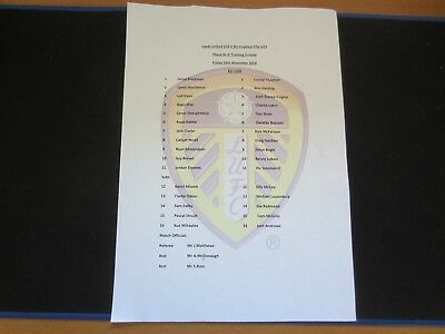 2018/19 U23 LEEDS UNITED v BIRMINGHAM CITY COLOUR TEAM SHEET