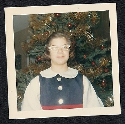 Vintage Photograph Young Girl in Glasses Standing By Christmas Tree