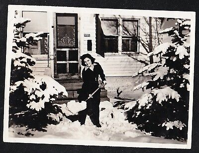 Vintage Antique Photograph Young Woman Shoveling Snow in Front of House