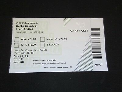 2018/19  CHAMPIONSHIP DERBY COUNTY v  LEEDS UNITED    TICKET STUB