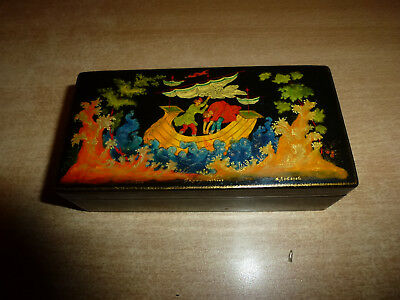 Vintage 1968 Palekh Lacquer Black Box Russian Hand Painted By Lebedev