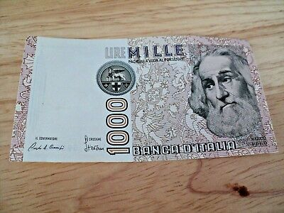 1000 LIRE MILLE BANCA D'ITALIA ITALY Bank Note Paper Circulated MARCO POLO