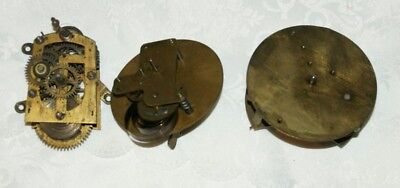 3 x Vintage Small Clock Part Movements -  French/Swiss & German, Spares/Repair