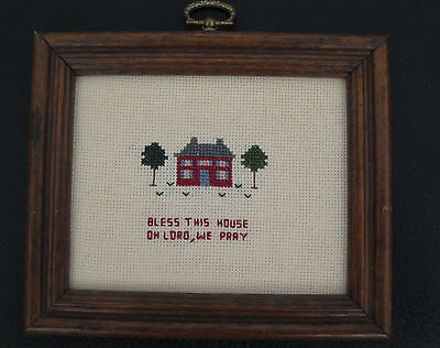 """Vintage Counted Cross Stitch Sampler """"bless This House Oh Lord, We Pray"""""""