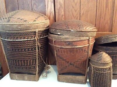 Lot Of Four Hand Woven Baskets With Lids