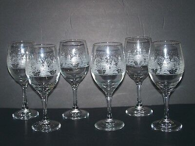 6 Large Arby's Winter Scene Holiday Wine Glasses with Gold Rims