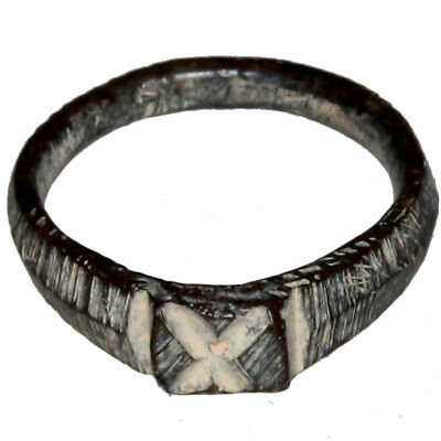 Intact Byzantine Bronze Ring-Engraved Number X Circa 700-1100 Ad