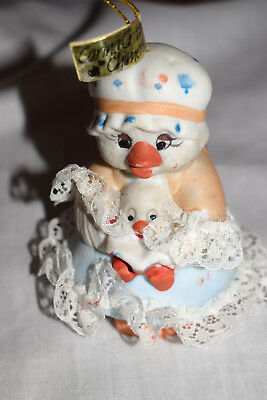 """Estate   4"""" Ceramic Bell  Christmas Ornament Mama Duck with Baby Dangle Feet"""