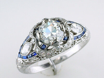 Vintage Engagement Ring GIA Certified 2.57ct Diamond Sapphire Platinum Deco Ring