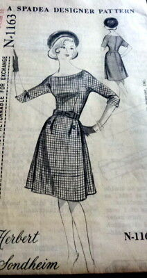 LOVELY VTG 1960s DRESS SPADEA DESIGNER HERBERT SONDHEIM Sewing Pattern 10/34