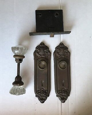 Sargent Mortise Door Lock Glass Knobs Back Plates & Strike Plate / vintage Brass