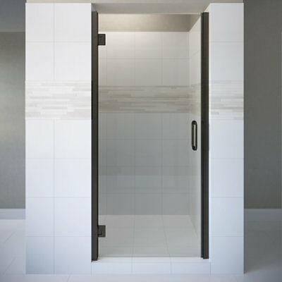 "Coppia 34.56""x76"" Hinged Frameless Shower Door Oil Rubbed Bronze AquaGlideXP Cle"