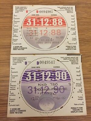Welsh Tax Disc For Fordson Digging Tractor X 2 Reg: Nkg 750 Still In Selvedge!