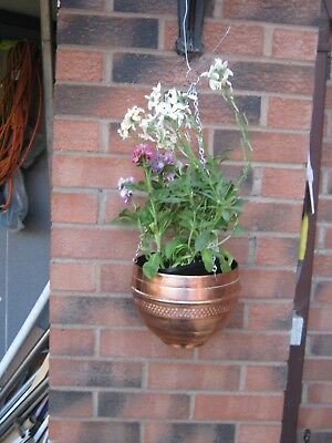 Copper hanging tub basket planter jardiniere country kitchen garden herbs flower