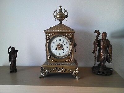 Antique french brass mantle clock c1900