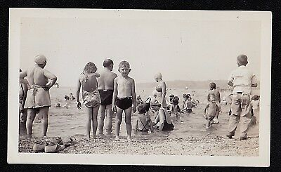 Antique Vintage Photograph Group of People Swimming in Water at the Beach