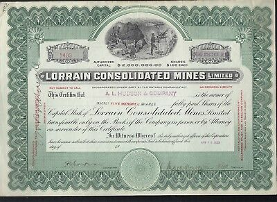 Lorain Consolidated  Mines Stock Certificate 1923 Ontario