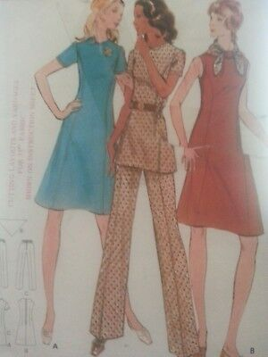 **UNCUT**Vintage Sewing Pattern**Ladies Dress, Tunic & Trousers**Semi-fitted**