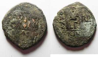 ZURQIEH -as8379- BYZANTINE EMPIRE. JUSTIN II & SOPHIA BRONZE FOLLIS
