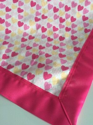 Baby Blanket XL Flannel Pink Hearts Receiving Swaddling Security Satin Trim New