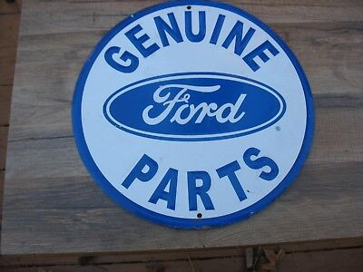 """Genuine Ford Parts Embossed Metal Sign 11 3/4"""" Round Tin"""