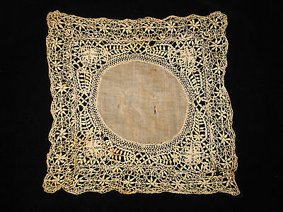 c1800 EXQUISITE Hand MADE Maltese LACE WEDDING HANKY/HANDKERCHIEF~Ex COND