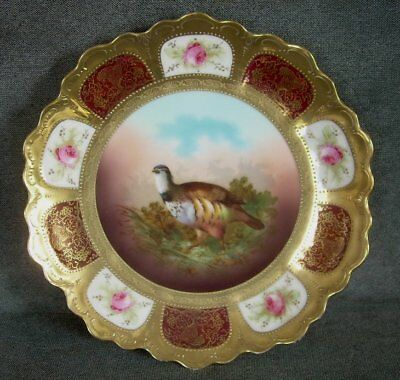 Antique Royal Vienna Plate Bavaria Mark GAME BIRD w/ Gold Lady Heads Pink Roses