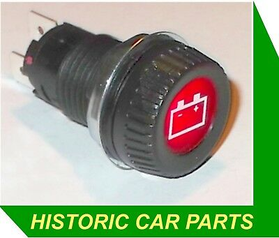 "12 VOLT IGNITION WARNING LIGHT- Large RED and white Icon 1"" (25mm) dia 12v 2w"