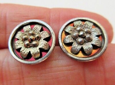 Fantastic Lot of 2 Matching Antique Steel Cup BUTTONS Tinted w/ Cut Steels (W)