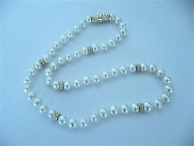 29cf98f9c2ac8 VINTAGE FIC 585 14 K Gold Pearl Necklace/White Pearl Beads 14 k Gold ...