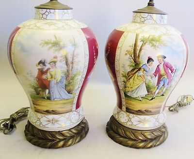 Huge Pair of French Old Paris Painted Urns as Lamps  c. 1850  Antique Vase