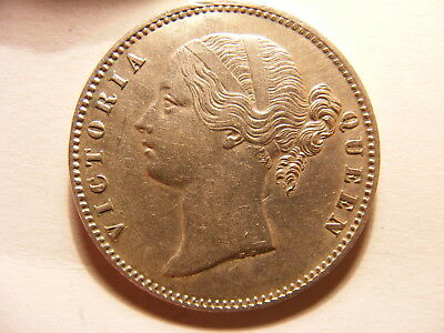 British East India 1840 Silver 1 Rupee, XF, WW Raised