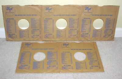 DOT RECORDS Five Original Brown/Blue Vintage 78 rpm Company Sleeves Nice Lot!!