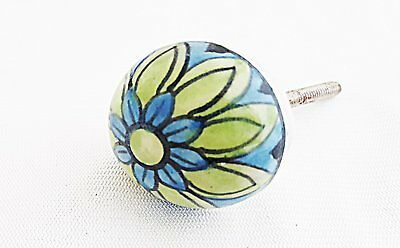 Ceramic Small aqua green blue flower round 3.5cm door knob/pulls/handles