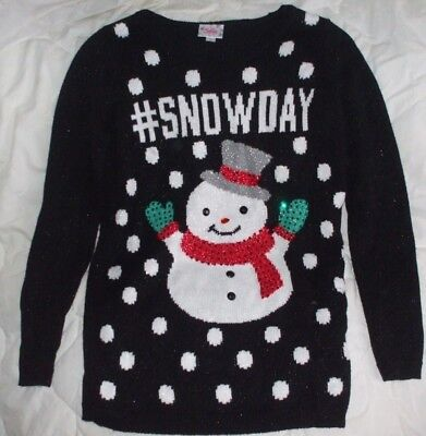 Sz 10 Justice Christmas Sweater Girls Snow Day Snowman