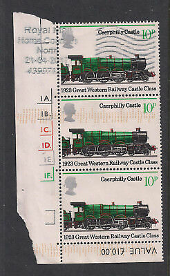GB 1975 QE2 10p x 3 Anniv. Public Railways used block of stamps  SG 986  ( 1369