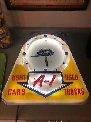 Vintage Ford Lighted Neon Clock A-1 Used Cars Working Condition 16 - 17 Inches