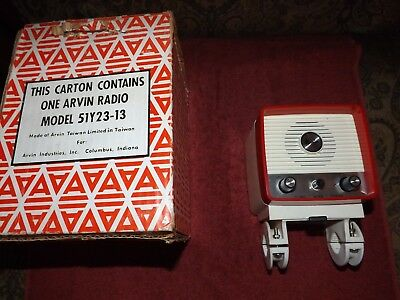ARVIN BICYCLE AM TRANSISTOR RADIO w/ HORN - 51Y23-13 - IN BOX - WORKING