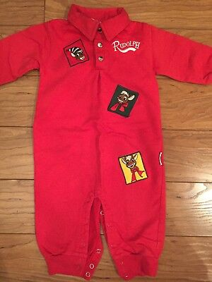 Rudolph 18 Mo Boy One Piece Red Fleece Outfit Romper Christmas