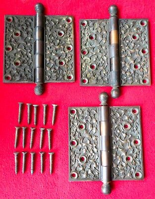 RARE SET OF THREE HEAVY CAST BRONZE KELP PATTERN DOOR HINGES YALE & TOWNE c1880s