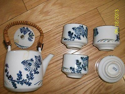 5 PCS. Japanese Chinese Tea Pot & Cups Set Blue Bamboo, Authentic Made in Japan